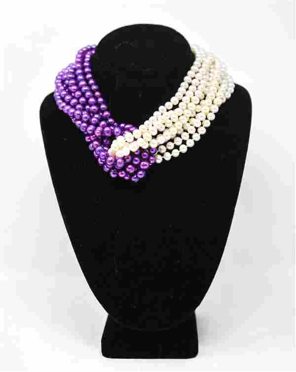 PATRICIA VON MUSULIN DYED PEARL STERLING NECKLACE