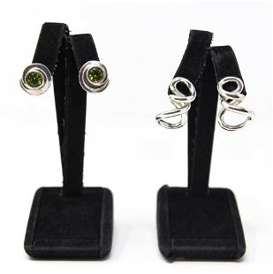 (2) PAIRS STERLING EAR CLIPS, STYLE OF VON MUSULIN