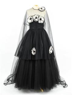 1950'S DEMI-COUTURE TULLE & SILK CAPE-BACK GOWN