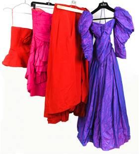 (3) 1980'S DESIGNER COCKTAIL & EVENING DRESSES