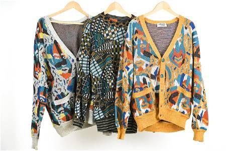 (3) 1980'S MISSONI ABSTRACT SWEATERS, L/XL