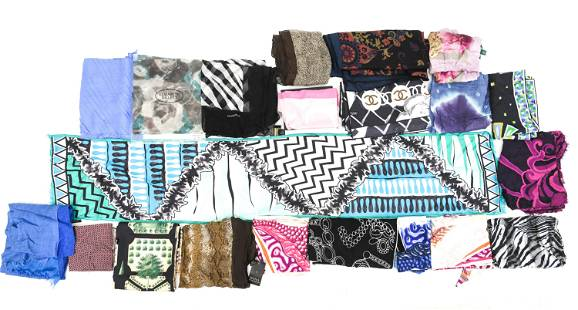 GROUP OF DESIGNER SCARVES INCL. CHANEL, BURBERRY