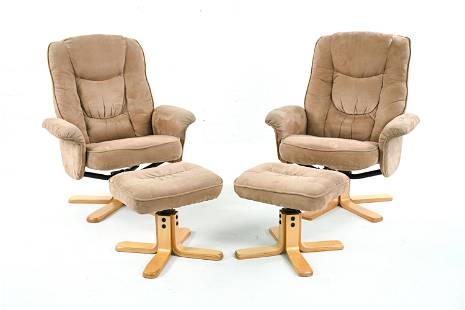 (2) STRESSLESS STYLE HIGHBACK CHAIRS & OTTOMANS