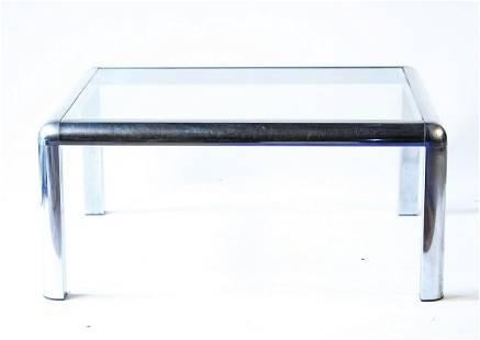MID-CENTURY CHROME & GLASS COFFEE TABLE