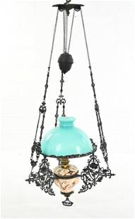 HANGING COUNTERWEIGHT PENDANT OIL LAMP
