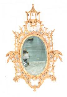 ORNATE CHINESE CHIPPENDALE GILT WALL MIRROR