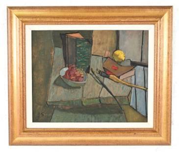 JOSEPH SOLMAN, NY (1909-2008) STILL LIFE O/B