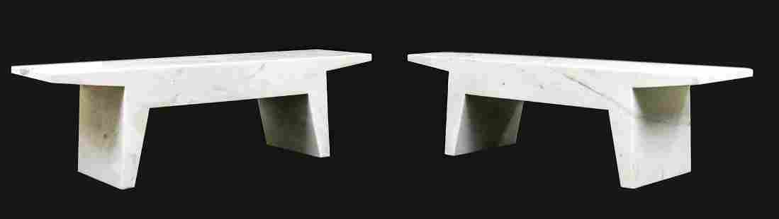 PAIR OF KBGL MARBLE FELIX BENCHES