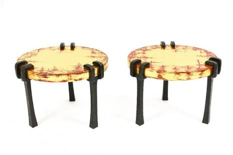 PAIR ALEXANDER LAMONT VESPERS TALL COFFEE TABLES
