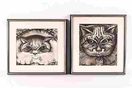 (2) SIGNED INK WASH CAT PAINTINGS, 1965
