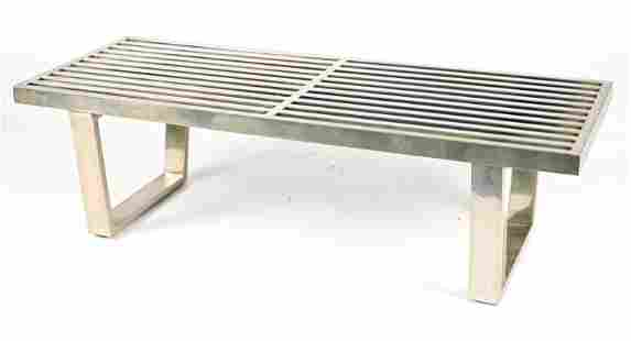 CHROME SLATTED COFFEE TABLE/BENCH AFTER BAUGHMAN