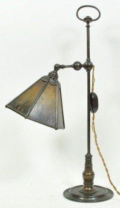 1: C. 1920 BRONZE STUDENT LAMP W/ TORTOISE SHADE