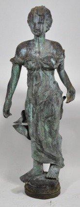 14: EARLY 20TH C. COPPER FOUNTAIN, DRAPED FEMALE