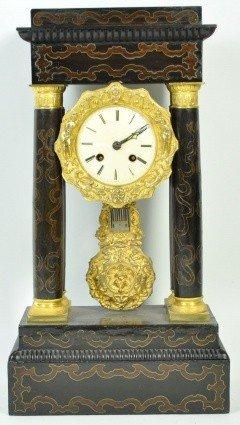 20: COLUMN CLOCK, 19TH C. INLAID EBONY WOOD