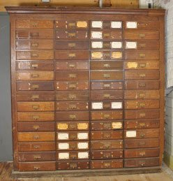 2: LARGE 60 DRAWER OAK APOTHECARY CABINET