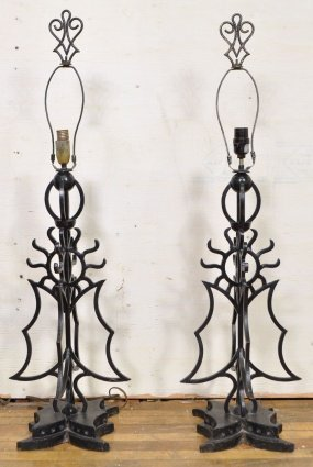 15: PAIR OF WROUGHT IRON SUN LAMPS