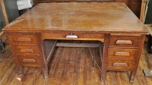 - 257: DOUBLE SIDED OAK PARTNERS DESK