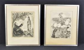TWO MARC CHAGALL BIBLE PRINTS