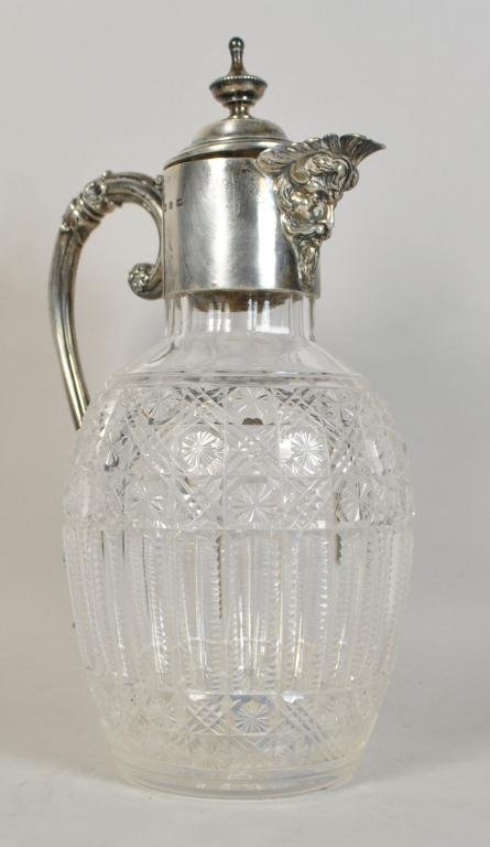 HENRY MATTHEWS 19TH C. GLASS & SILVER PITCHER