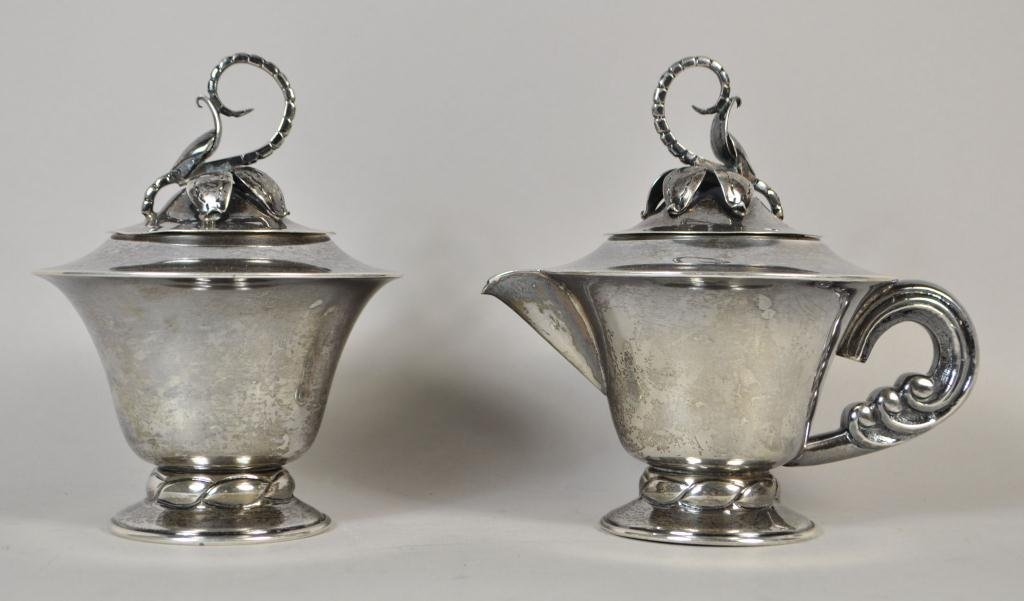STERLING SILVER SUGAR & CREAMER W/ LOUVRE MARK