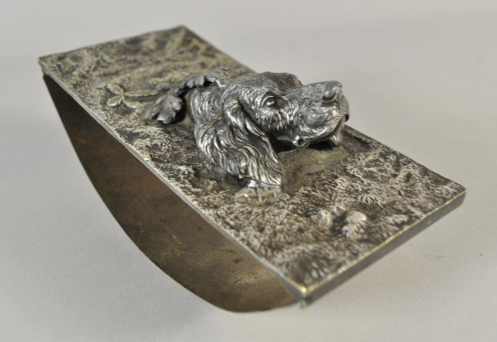 C. 1867 RUSSIAN SILVER FIGURAL DOG INK BLOTTER