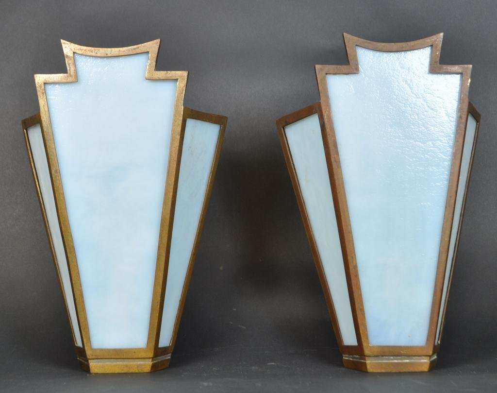 FRENCH ART DECO BRASS & GLASS SCONCES