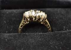 EDWARDIAN 14K GOLD, DIAMOND & PEARL RING