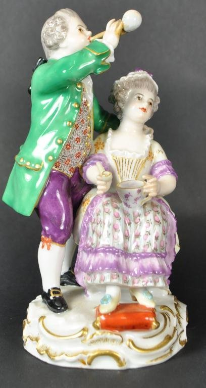 MEISSEN  COUPLE BLOWING BUBBLES
