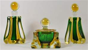 3 PC ITALIAN ART GLASS DRESSER SET W PERFUMES