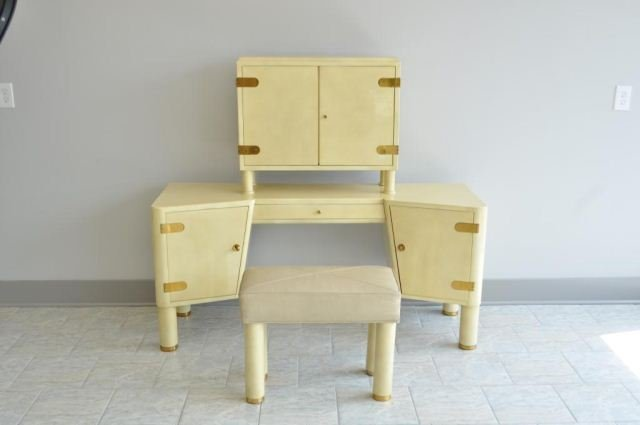 FRENCH MODERN PARCHMENT VANITY DRESSING STATION