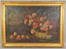 OLD MASTER STILL LIFE FLOWERS & CHINESE BOWL
