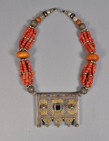 BERBER CORAL AND AMBER NECKLACE W ENAMEL