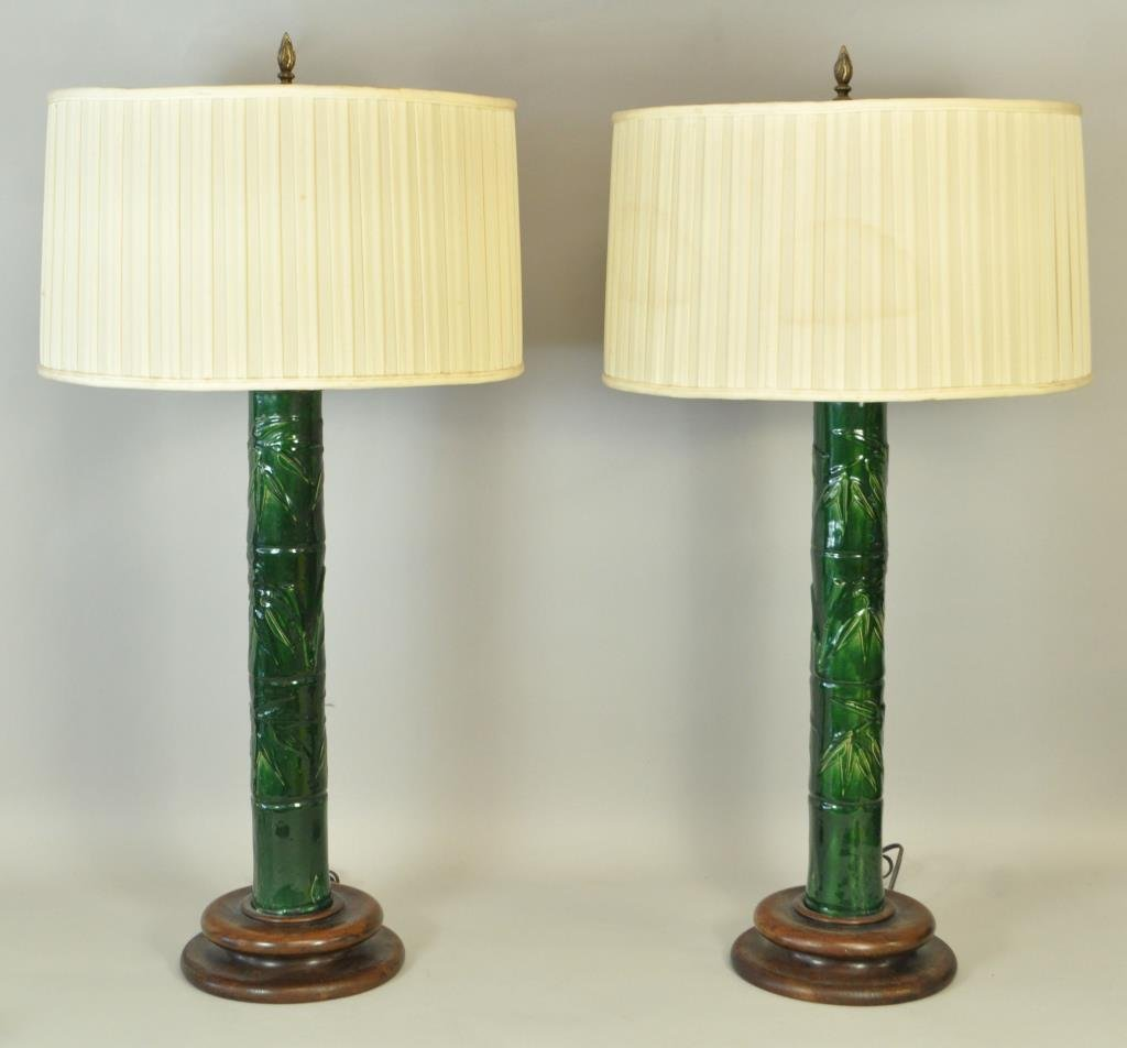 PAIR OF MID-CENTURY JAPANESE CERAMIC LAMPS