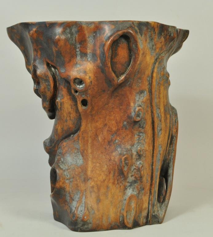 CHINESE CARVED BURL WOOD BRUSH POT