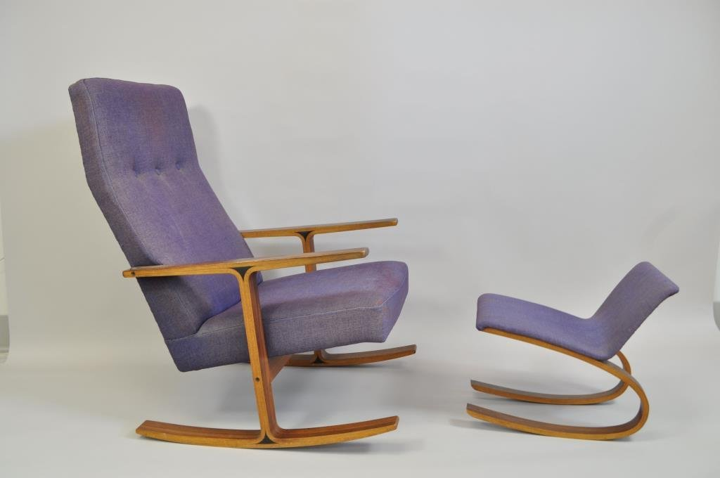 MID-CENTURY ROCKING CHAIR & OTTOMAN TENDO MOKKO