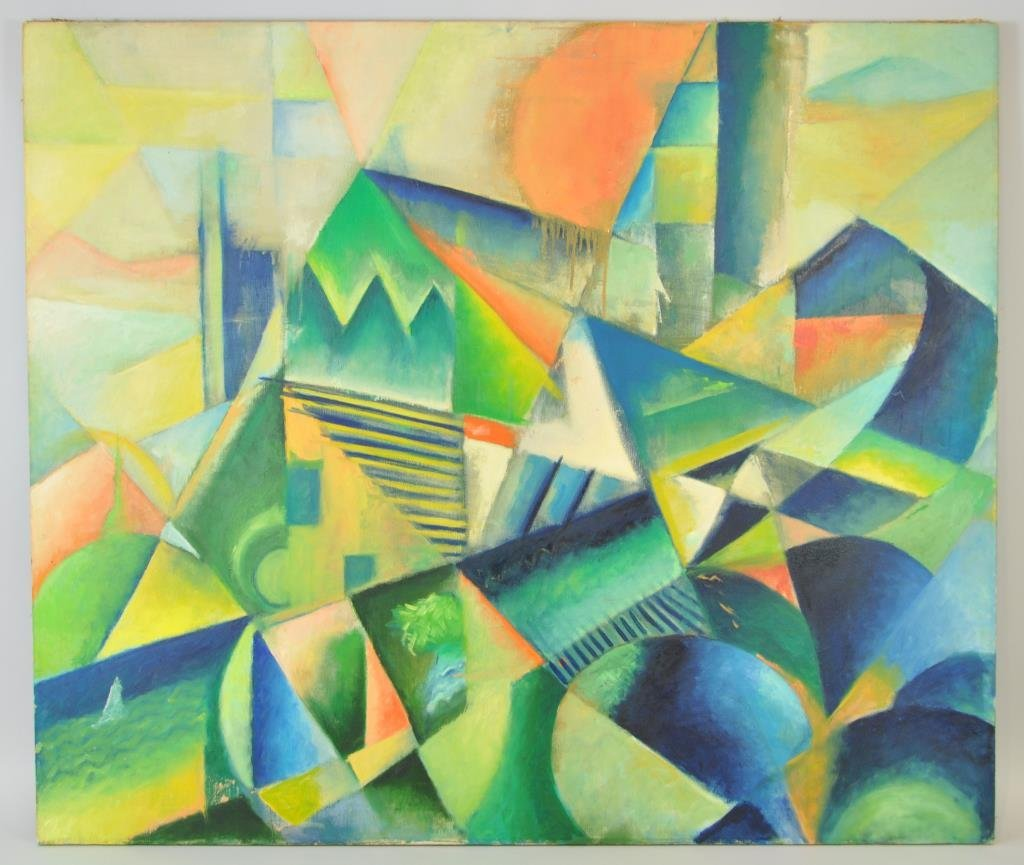 ABSTRACT GEOMETRIC OIL ON CANVAS