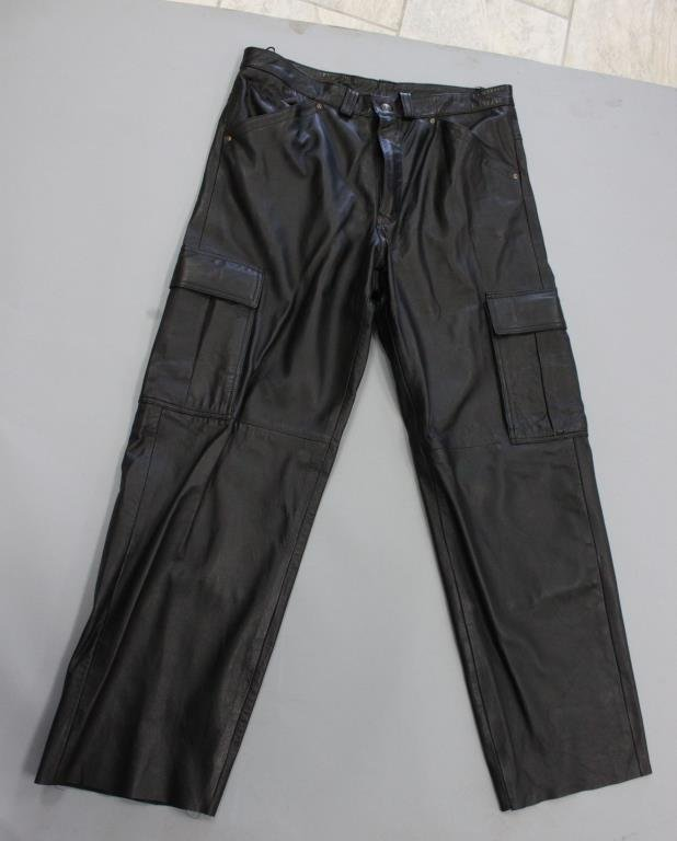 MENS INFINITY BLACK LEATHER CARGO PANTS