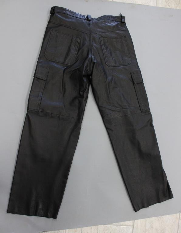 MENS INFINITY BLACK LEATHER CARGO PANTS - 5