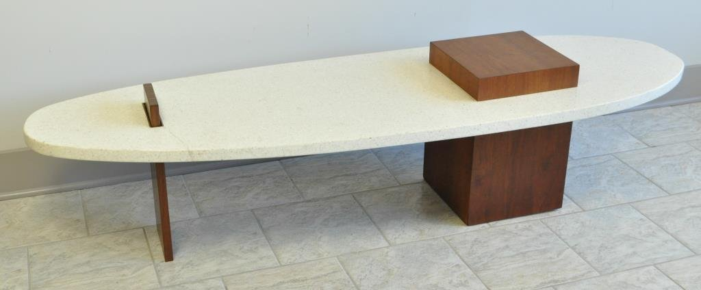 TERRAZZO MARBLE COFFEE TABLE BY HARVEY PROBBER