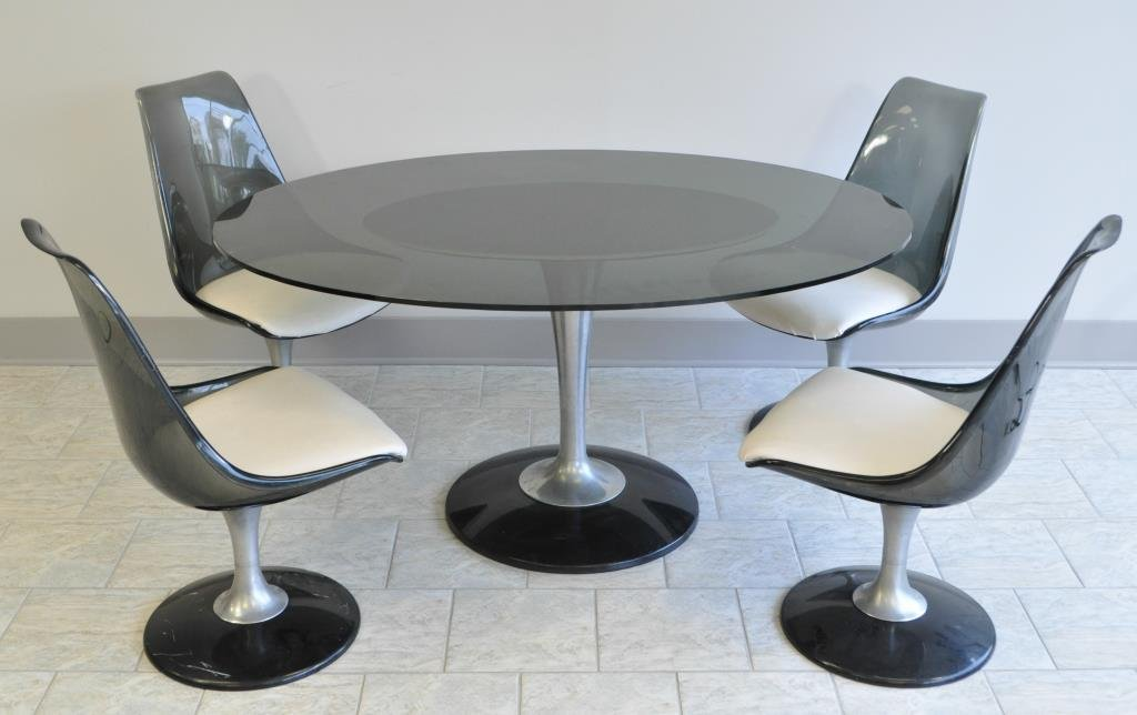 C. 1970 SMOKED GLASS TABLE & LUCITE CHAIRS