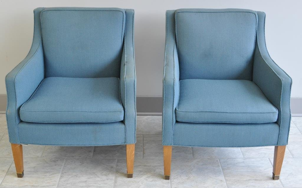 PAIR OF MID-CENTURY UPHOLSTERED CLUB CHAIRS