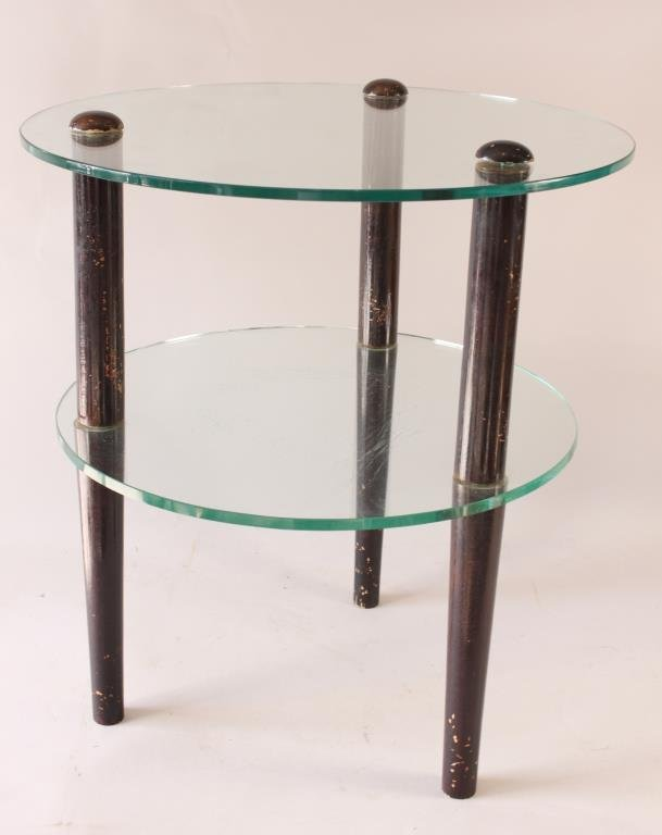 GILBERT ROHDE TWO TIER GLASS TABLE