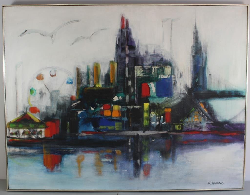 D. METELSKI ABSTRACT CITYSCAPE O/C PAINTING
