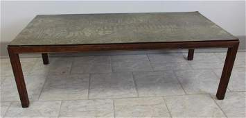 MID-CENTURY ITALIAN ETCHED METAL TOP COFFEE TABLE