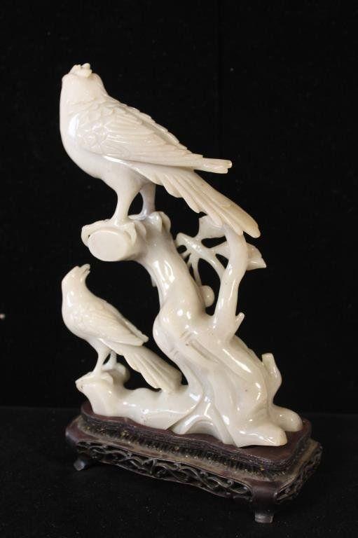 RARE QING DYNASTY GREY JADE CARVED BIRD