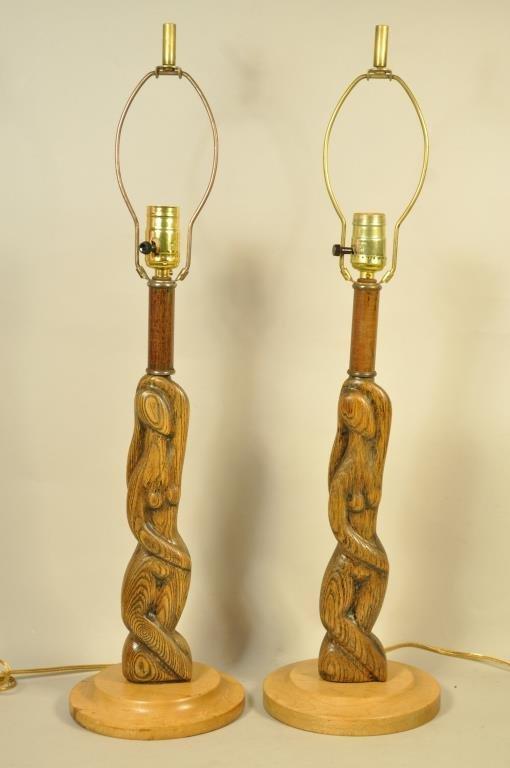 PAIR FIGURAL OAK LAMPS IN THE MANNER OF HEIFETZ