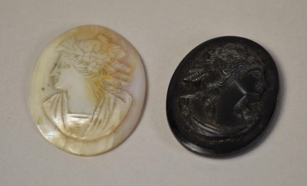 TWO EARLY ANTIQUE CARVED CAMEOS