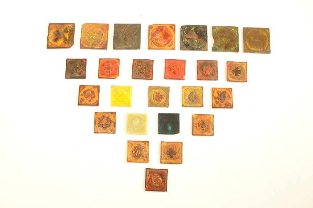 LARGE GROUPING OF TIFFANY GLASS TILES