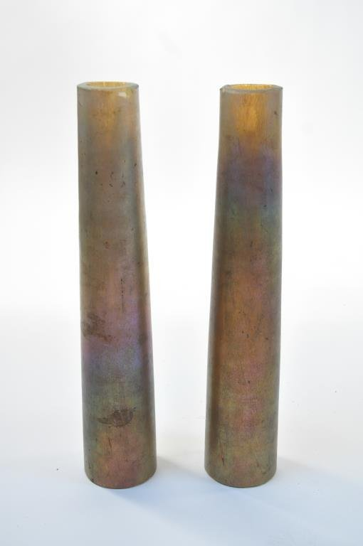PAIR OF TIFFANY FAVRILE GLASS COLUMNS