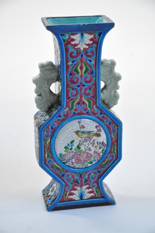 LONGWY DOUBLE HANDLE FRENCH FAIENCE VASE